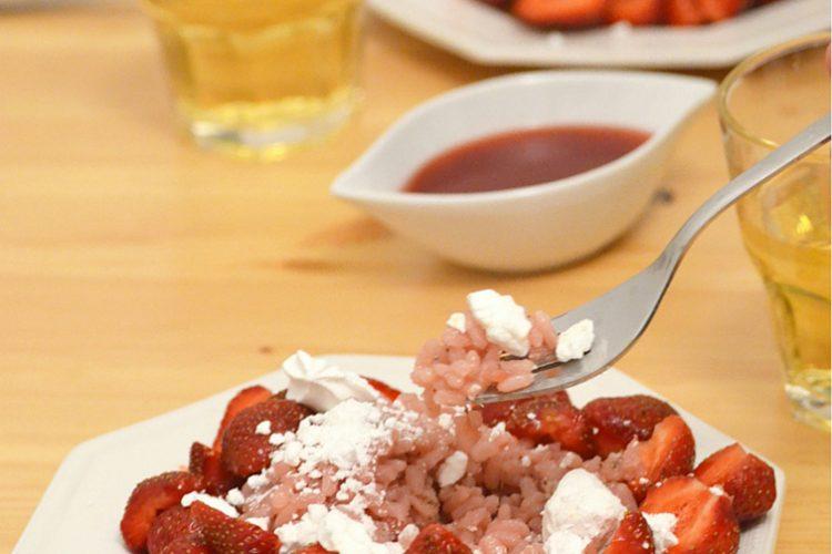 A może truskawkowe risotto z winem musującym na kolację?